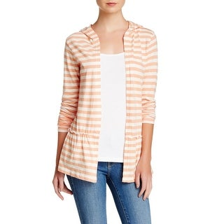 Abound NEW Orange Size Small S Junior Cardigan Striped Ruffle Sweater