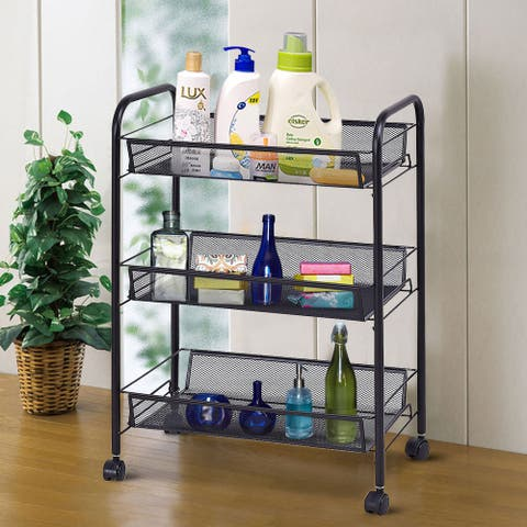 Costway 3 Tier Storage Rack Trolley Cart Home Kitchen Organizer