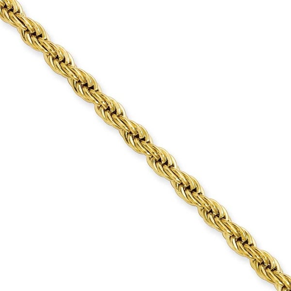 Stainless Steel IP Gold-plated 4.0mm 22in Rope Chain (4 mm) - 22 in