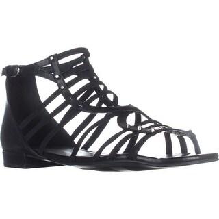Marc Fisher Partner Ankle Strap Flats Sandals, Black Multi