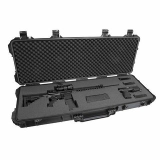 Elkton Outdoors Hard Gun Case With Wheels: Fully Customizable Hard Rifle Case: Holds Assault Rifles, Long Guns, Magazines & Pist