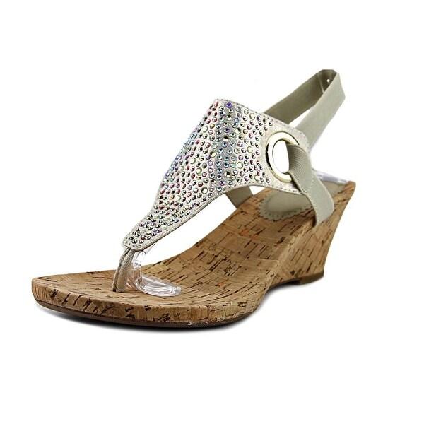 White Mountain Aldon Women Open Toe Canvas Gold Wedge Sandal