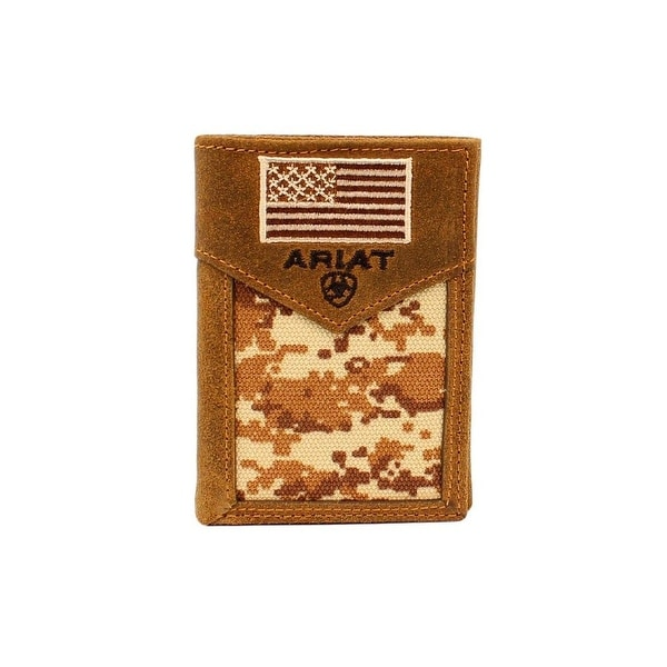 Ariat Western Wallet Men Trifold Lace Camo USA Flag Med Brown - One size