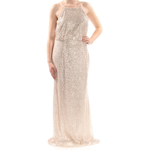 ADRIANNA PAPELL Womens Beige Sequined Spaghetti Strap Square Neck Full-Length Prom Dress Size: 10