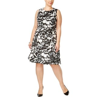 Calvin Klein Womens Plus Cocktail Dress Printed Fit & Flare