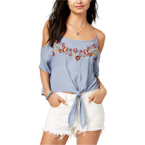 Polly & Esther Womens Embroidered Cold Shoulder Blouse