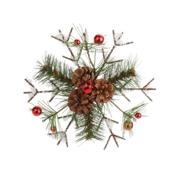 "8"" Frosted Pine and Pine Cone Snowflake Christmas Tree Ornament with Red Berries - brown"