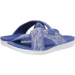 FitFlop Womens Artknit Cross Slide Fabric Peep Toe Casual Slide Sandals
