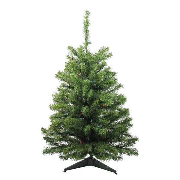 3' Battery Operated Pre-Lit LED Pine Artificial Christmas Tree - Multi Lights