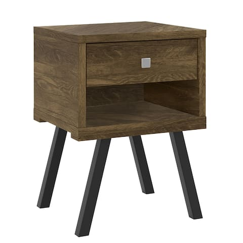 25 Inch Wooden End Side Table Nightstand with Drawer & Splayed Legs, Rustic Brown