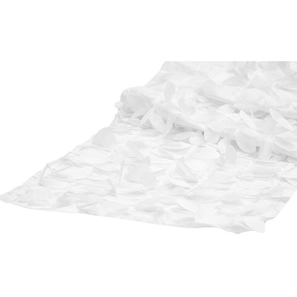 "Leaf Petal Taffeta Table Runner Approx: 13""x108"" - White"