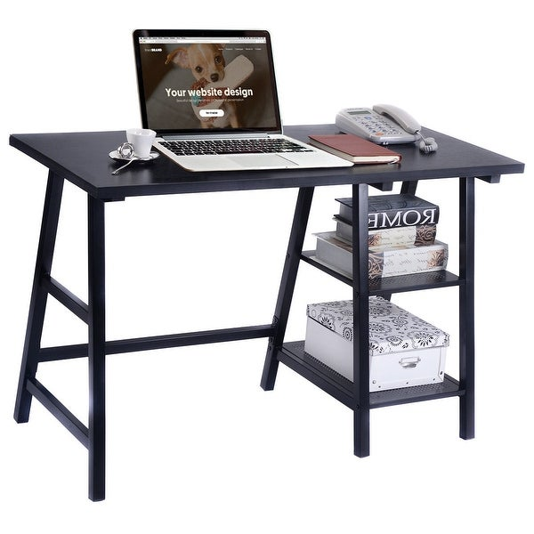 Costway Modern Trestle Desk Laptop Writing Table Shelves Computer Desk Black