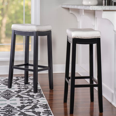 Copper Grove Glodeni Backless Bar Stool with White Vinyl Saddle Seat