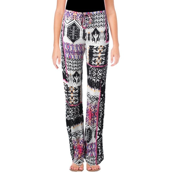 Felicite Womens Casual Pants Printed Flat Front
