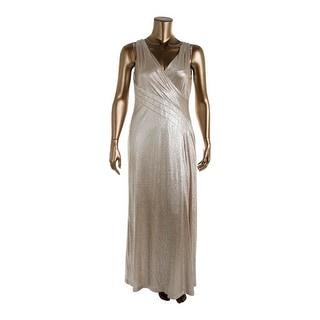 Lauren Ralph Lauren Womens Metallic Surplice Evening Dress