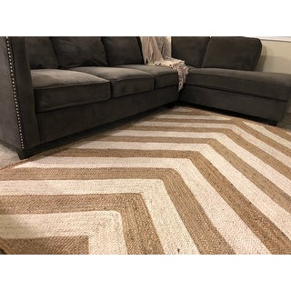 Carbon Loft Gelobter Natural Eco Fiber Braided Reversible Chevron Jute Area Rug