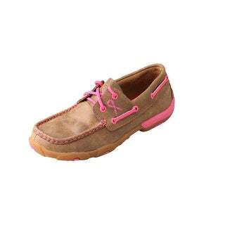 Twisted X Casual Shoes Girl Kid Mocs Lace Up Bomber Neon Pink YDM0015