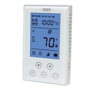 King Electric K302PE ClearTouch Electronic 7 Day Programmable Thermostat - White