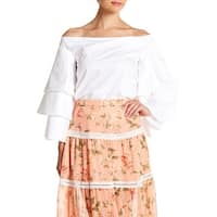 Endless Rose White Womens Size XS Ruffle Sleeve Off Shoulder Blouse