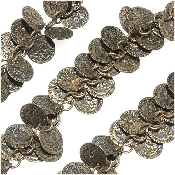 Antiqued Brass 10mm Coin Charm Chain - Bulk By The Inch