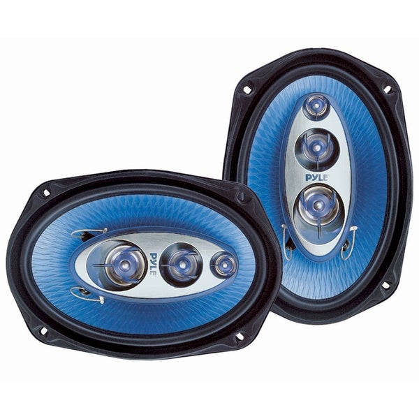 """6"""" x 9"""" Car Sound Speaker (Pair) - Upgraded Blue Poly Injection Cone 4-Way"""