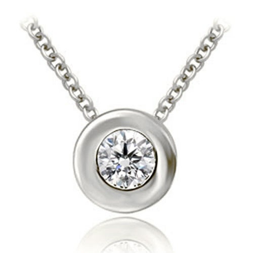 0.25 cttw. 14K White Gold Round Cut Diamond Solitaire Bezel Pendant
