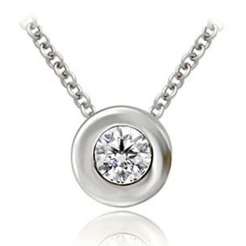 0.50 cttw. 14K White Gold Round Cut Diamond Solitaire Bezel Pendant