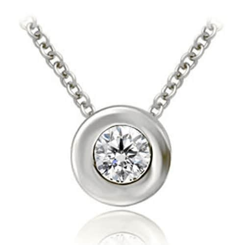 0.75 cttw. 14K White Gold Round Cut Diamond Solitaire Bezel Pendant