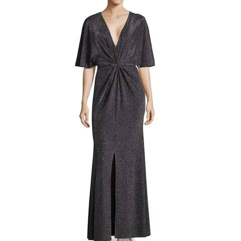 Betsy & Adam Women's Dress Silver Size 10 Knot Front Maxi Metallic
