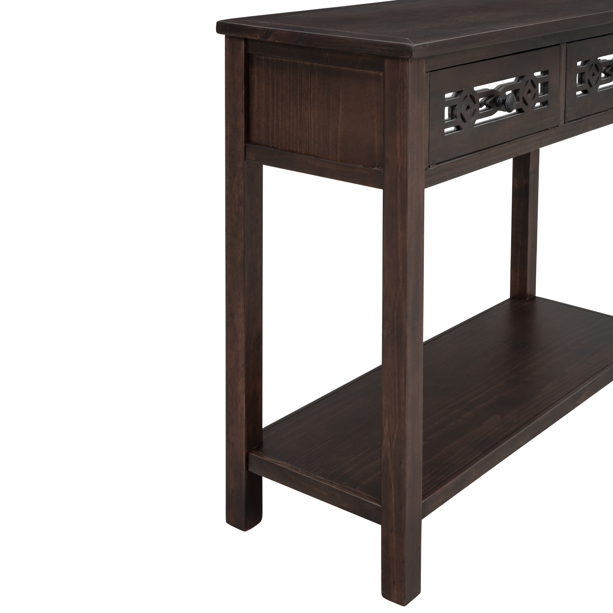 Console Table with Hollow out Decoration Two Top Drawers and Open Shelf  Large Storage Space
