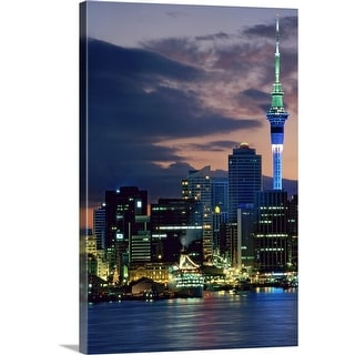 """""""Sky Tower and cruise ships in Auckland Harbour, North Island, New Zealand"""" Canvas Wall Art"""