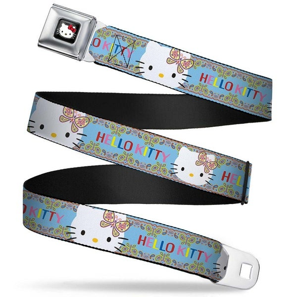 Hello Kitty W Red Bow Full Color Black Hello Kitty Paisley Butterfly Seatbelt Belt
