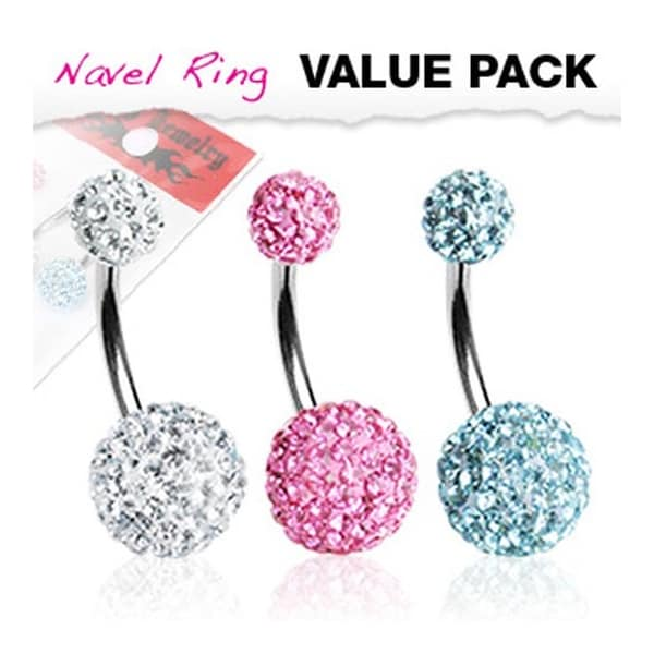 3 Pcs Pack of Clear, Pink, and Aqua Color Multi-Gem Crystal Ferido Navel Belly Button Ring