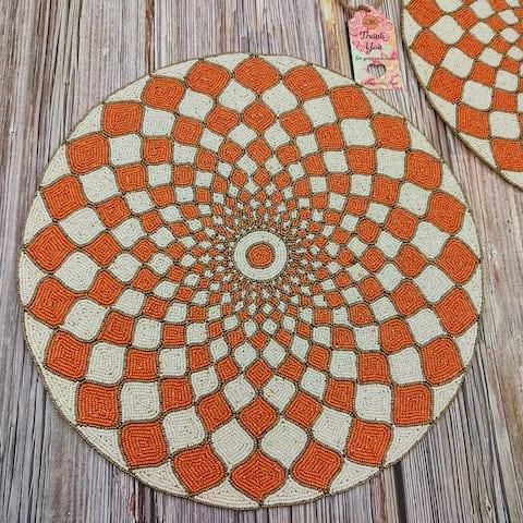 "GAURI KOHLI Orange Lattice Glass Beaded Table Placemats (Set of 2) - 15 X 15"""
