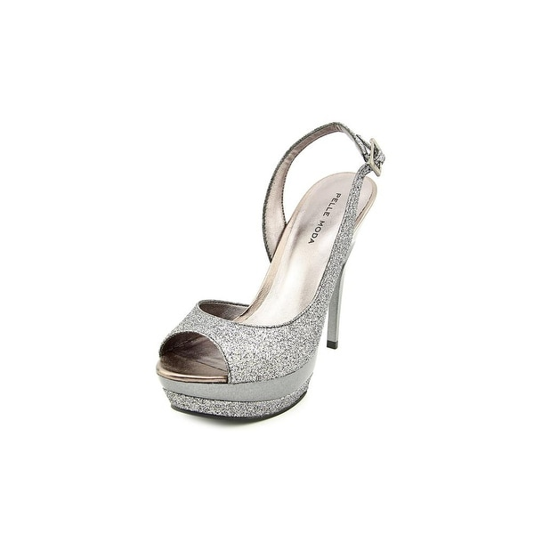 Pelle Moda Gleam Women Open Toe Synthetic Silver Platform Heel