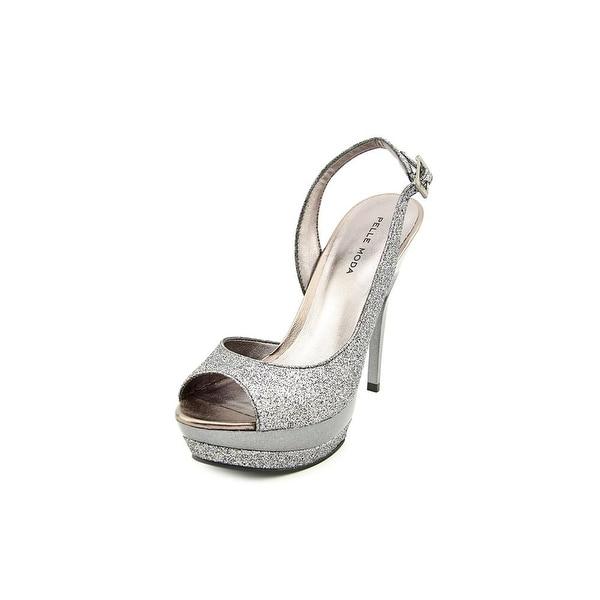 Pelle Moda Gleam Women Open Toe Synthetic Silver Platform Heel