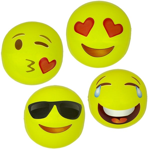 """Set of 4 Inflatable Yellow Expressions Swimming Pool and Beach Ball 16"""" - N/A"""