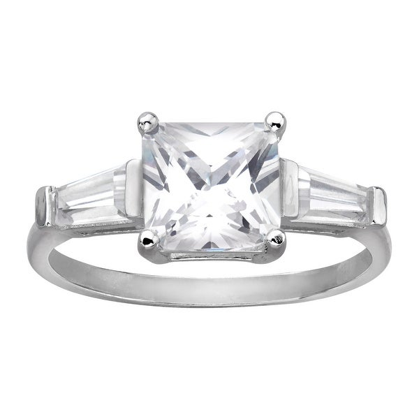 Three Stone Ring with Cubic Zirconia in Sterling Silver - White
