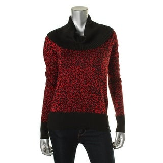 MICHAEL Michael Kors Womens Printed Cowl Neck Pullover Sweater