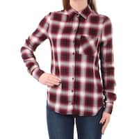 Womens Red Plaid Cuffed Collared Button Up Top  Size  XS