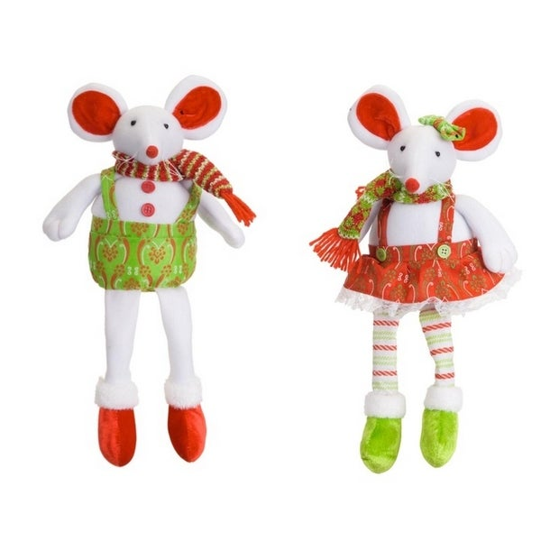 """Sitting Mouse Couple (2 Asst) 16""""H Polyester"""