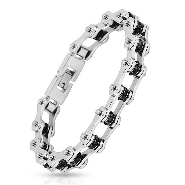 Motorcycle Chain Black Gem Link 316L Stainless Steel Biker Bracelet (13.4 mm) - 9 in
