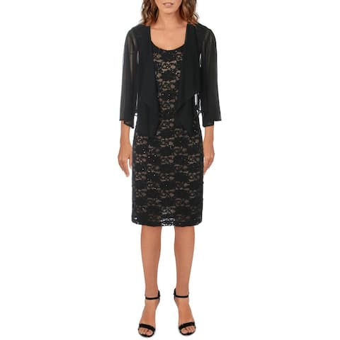 Connected Apparel Womens Petites Dress With Cardigan Sequined Lace - Black/Gold - 12P