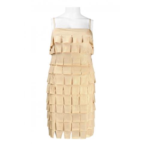 JS Collections Spaghetti Strap Flap Detail Metallic Jersey Dress, Gold, 16