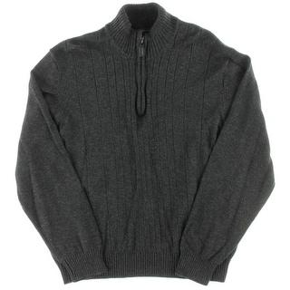 Tricots St. Raphael Mens Cotton Mock Turtleneck 1/2 Zip Sweater