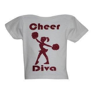 """Little Girls White Glitter """"Cheer Diva"""" Short Sleeved Cotton T-Shirt"""