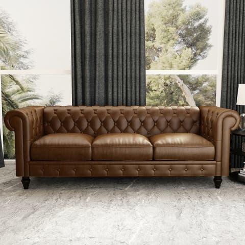 88' PU Rolled Arm Chesterfield Sofa