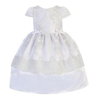 Angels Garment Little Girls White Satin Mesh Baptism Flower Girl Dress