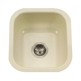 "Houzer PCB-1750 Porcela 15-3/5"" Single Basin Undermount Porcelain Enameled Kitchen Sink with Sound Dampening Technology"