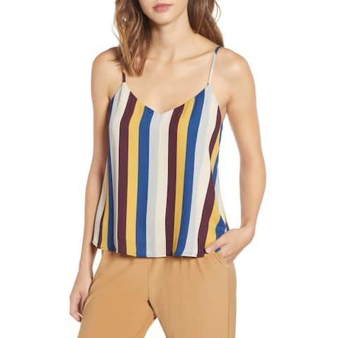 Leith Womens Tank Top Brown Blue Size Large L Striped Strappy Chiffon